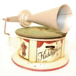 A Bing Model No.5019 tinplate model of a Kiddyphone gramophone finished in cream and red with