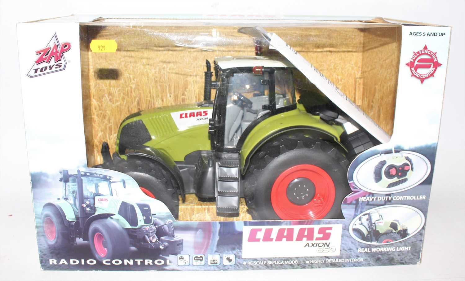 Zap Toys Radio Controlled model of a Claas Axion 850 tractor with control unit housed in the