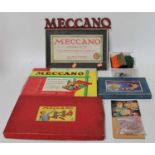 Meccano items: gears outfit 'A'; Mechanisms outfit; quantity of black Meccano, Meccano accessory