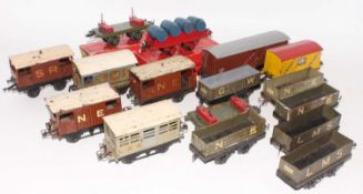 Large tray containing 15 Hornby mainly pre-war wagons and one non-Hornby, includes a No. 2 LMS