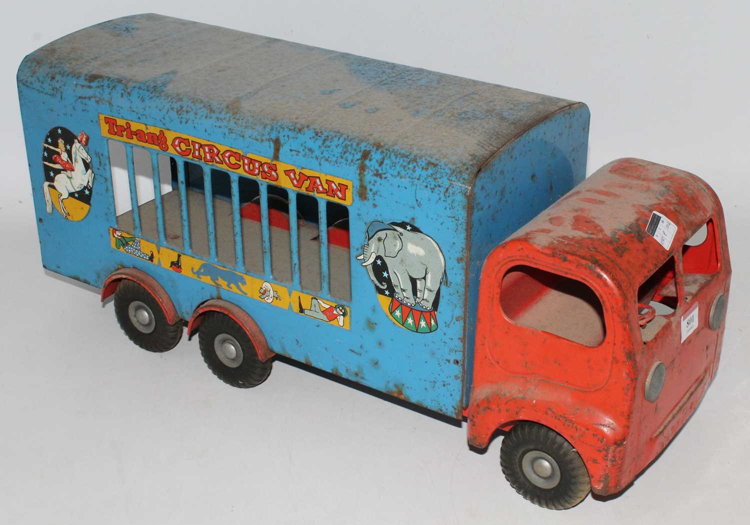 Triang large Circus Van, in blue and red in played with condition, needs cleaning. (F) - Image 2 of 2