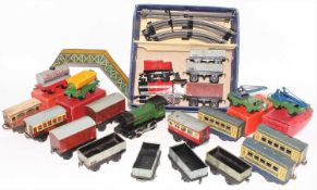 Hornby train set M1 0-4-0 red loco and tender with goods wagons and track, box missing some fitments