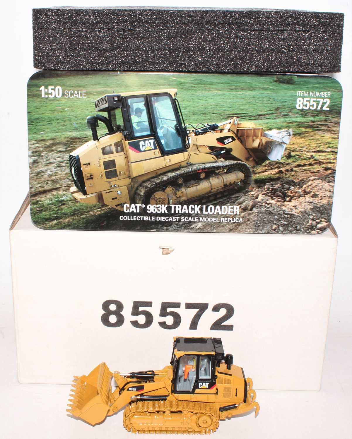 A diecast Masters Real Replicas Highline series Model No. 85572 1/50 scale model of a Caterpillar