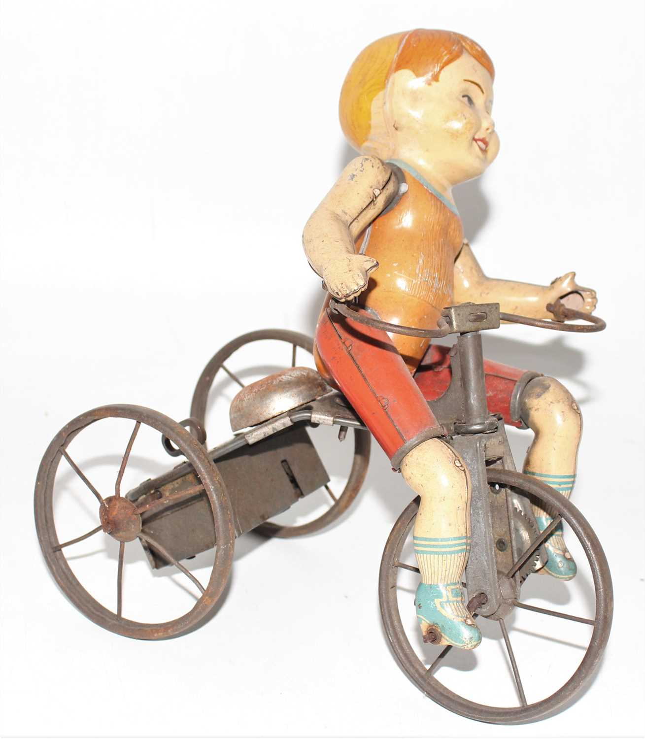 A Marx tinplate and clockwork model of a Wonder Cyclist comprising of Three wheeled trike fitted - Image 2 of 2