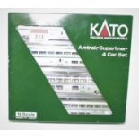 A Kato N gauge No. 106-3516 model of an Amtrak Superliner Phase IVB4 car set, appears as issued