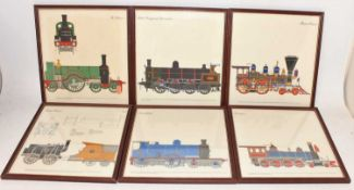 6 framed and glazed railway prints, all depicting various locomotives, to include GNR No.1,
