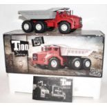 A Norev 1.43 scale T100 series Berliet T100 No. 3 600hp truck with dumper back, housed in the