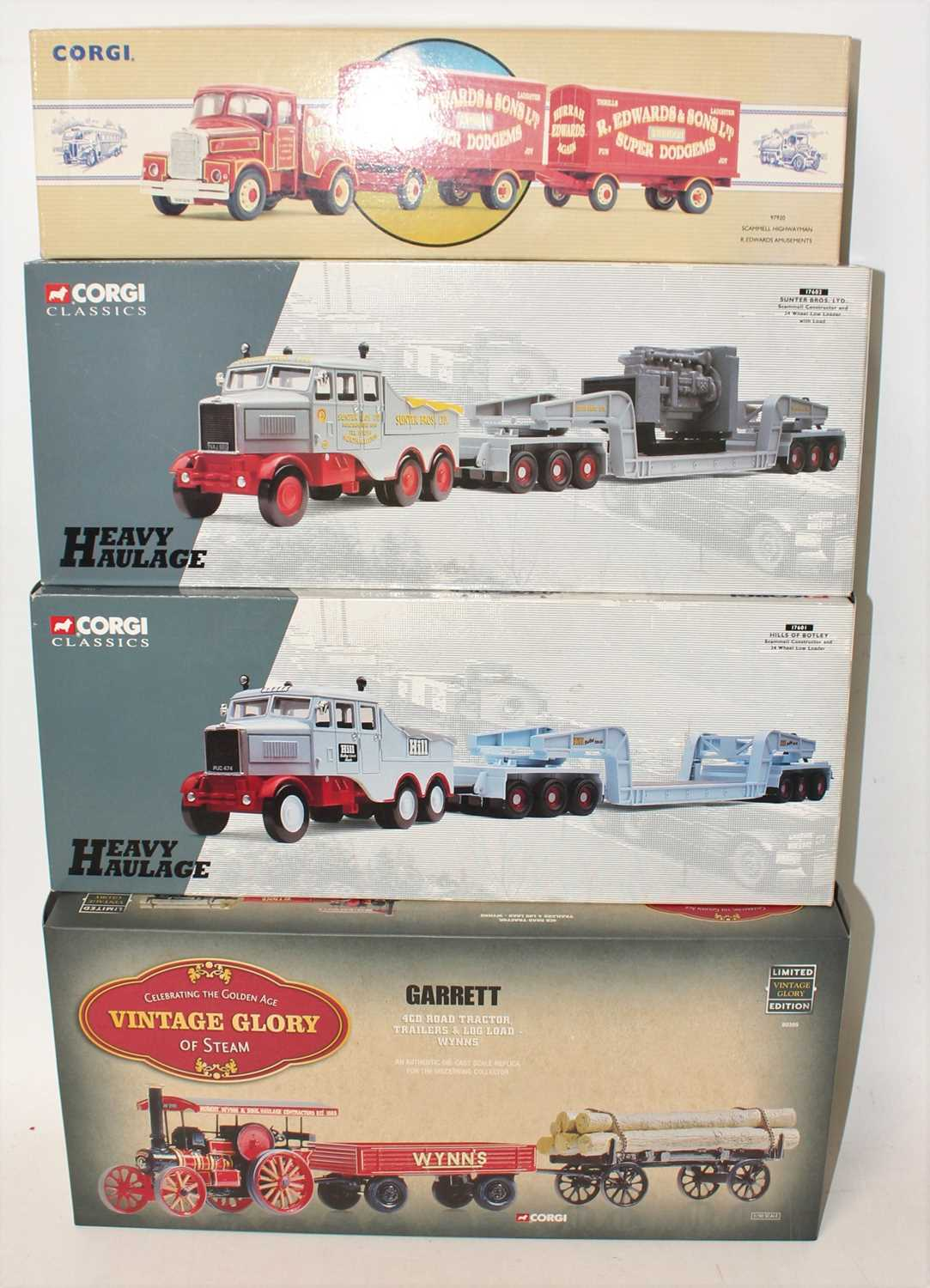 Corgi Classics and Heavy Haulage Boxed Group, 4 examples, to include Edwards Amusements Scammell