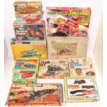 Two boxes containing a large quantity of various tinplate and plastic vehicles, children's toys,