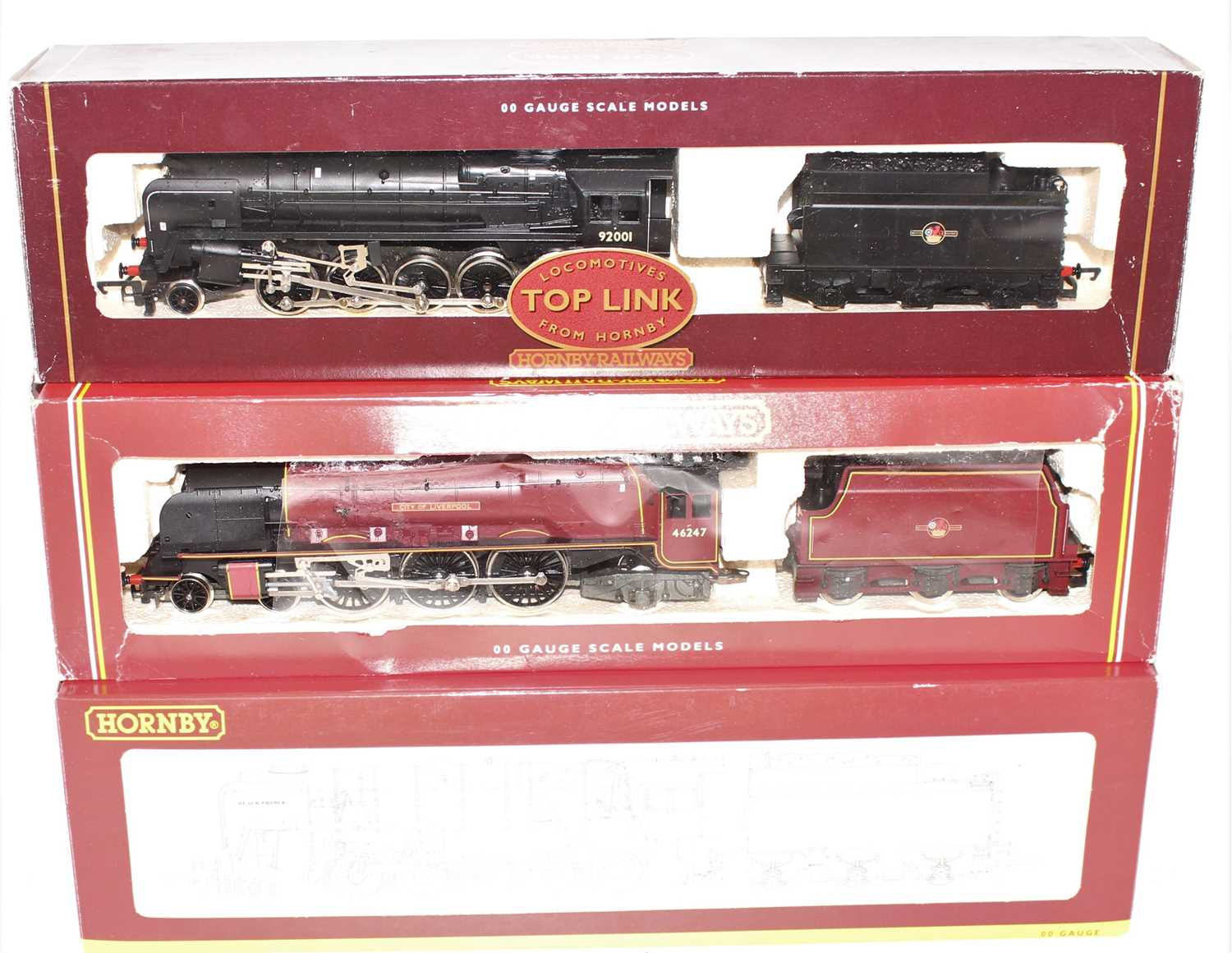 A Hornby Railways 00 gauge BR locomotive boxed group, to include a No. R2016 BR class 9F locomotive, - Image 2 of 3