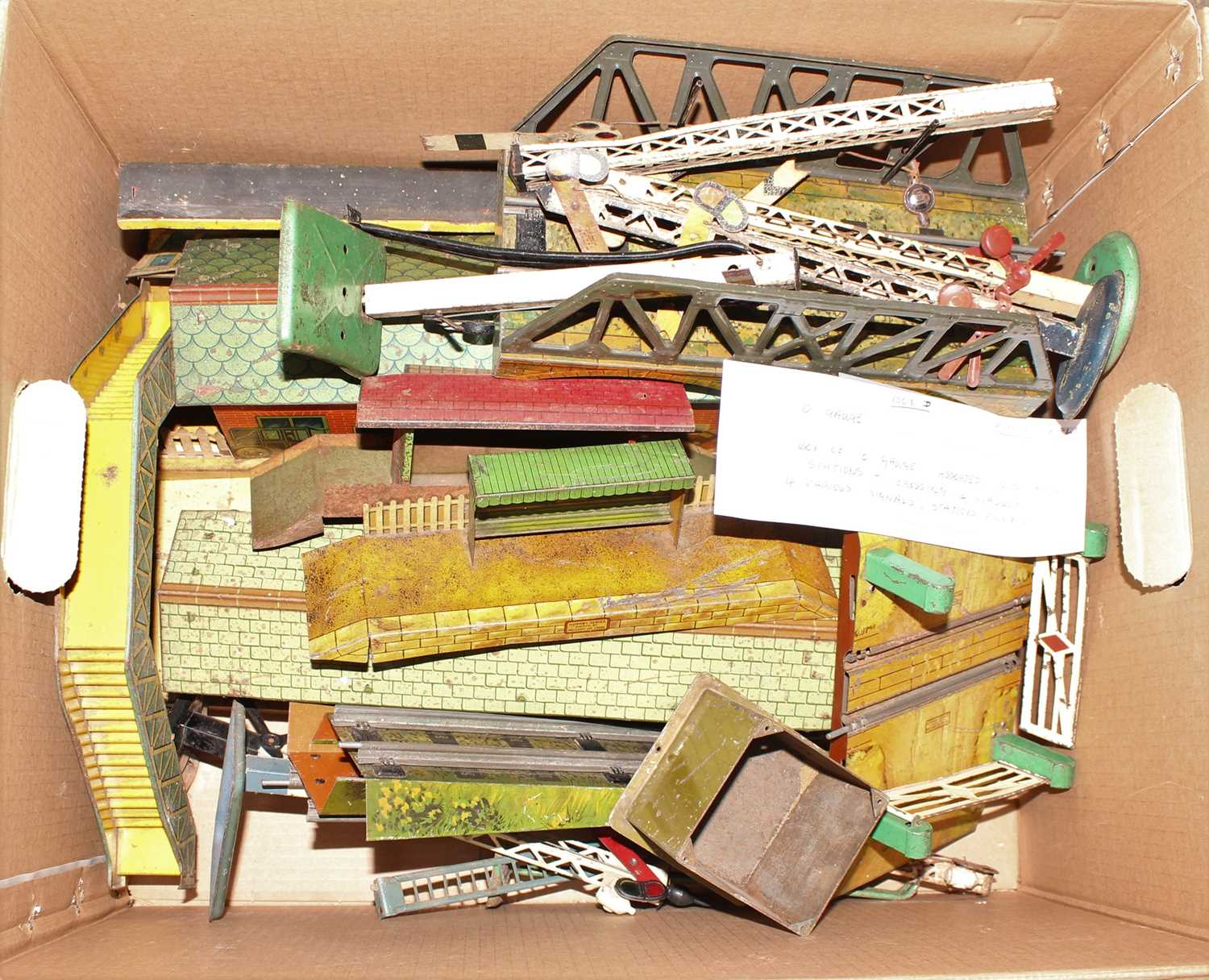 Large box of Hornby Accessories, all suitable for repair or restoration, including 5 Lattice Post