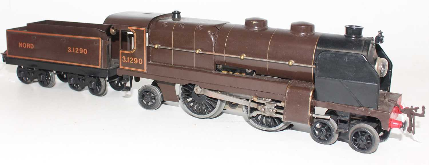 Hornby total repaint 1934-36 E320 20V AC Riviera Blue Train Loco and tender, Nord No.3.1290 on lined - Image 2 of 2