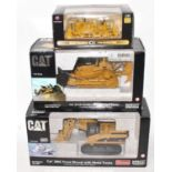 A Norscot and First Gear 1/50 scale Caterpillar and Allis Chalmers construction vehicle group, three