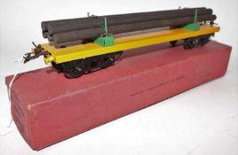 Hornby 1935/39 No.2 Lumber Wagon, plain yellow base, green bolsters, black bogies with original 5