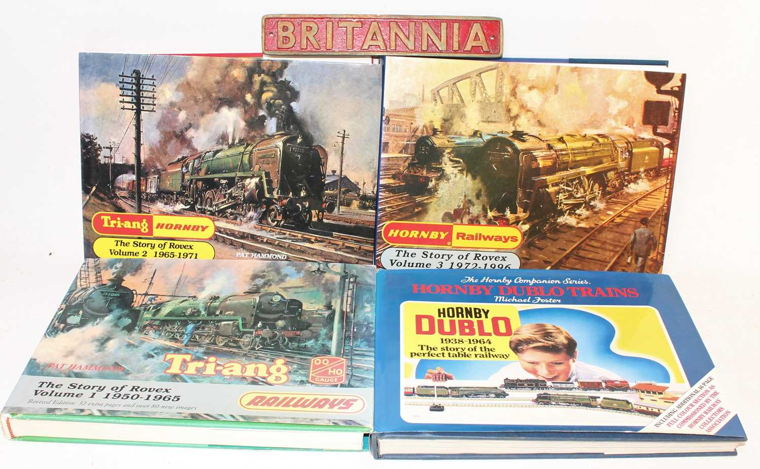 A collection of Hornby and Triang Hornby hardbacked books to include Hornby Dublo Trains by