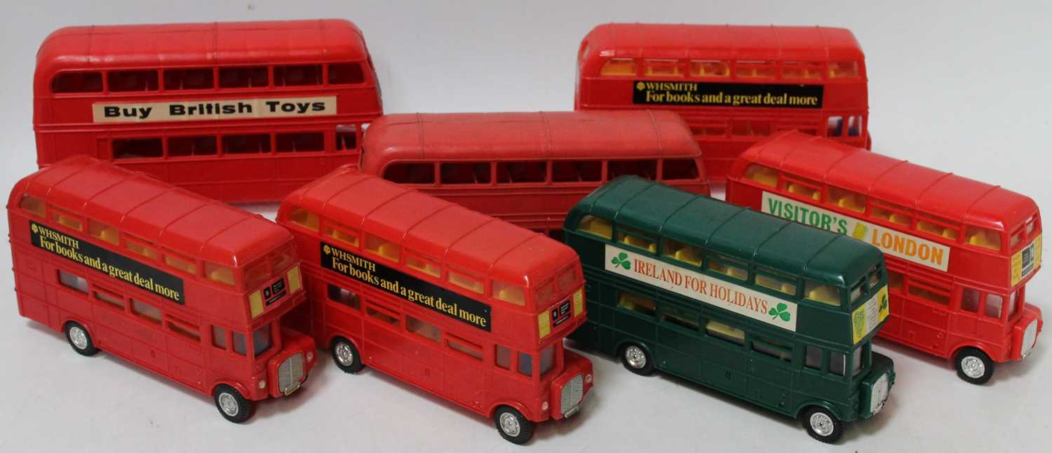 A collection of seven various plastic friction drive and battery operated public transport buses - Image 2 of 2