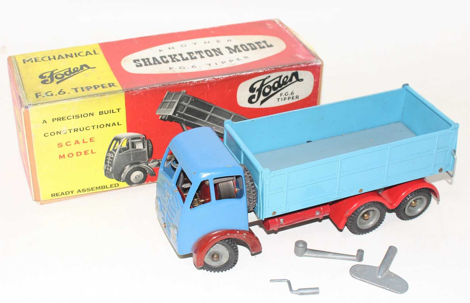 A Shackleton Models model of a Foden FG6 tipper truck comprising of two-tone blue body with
