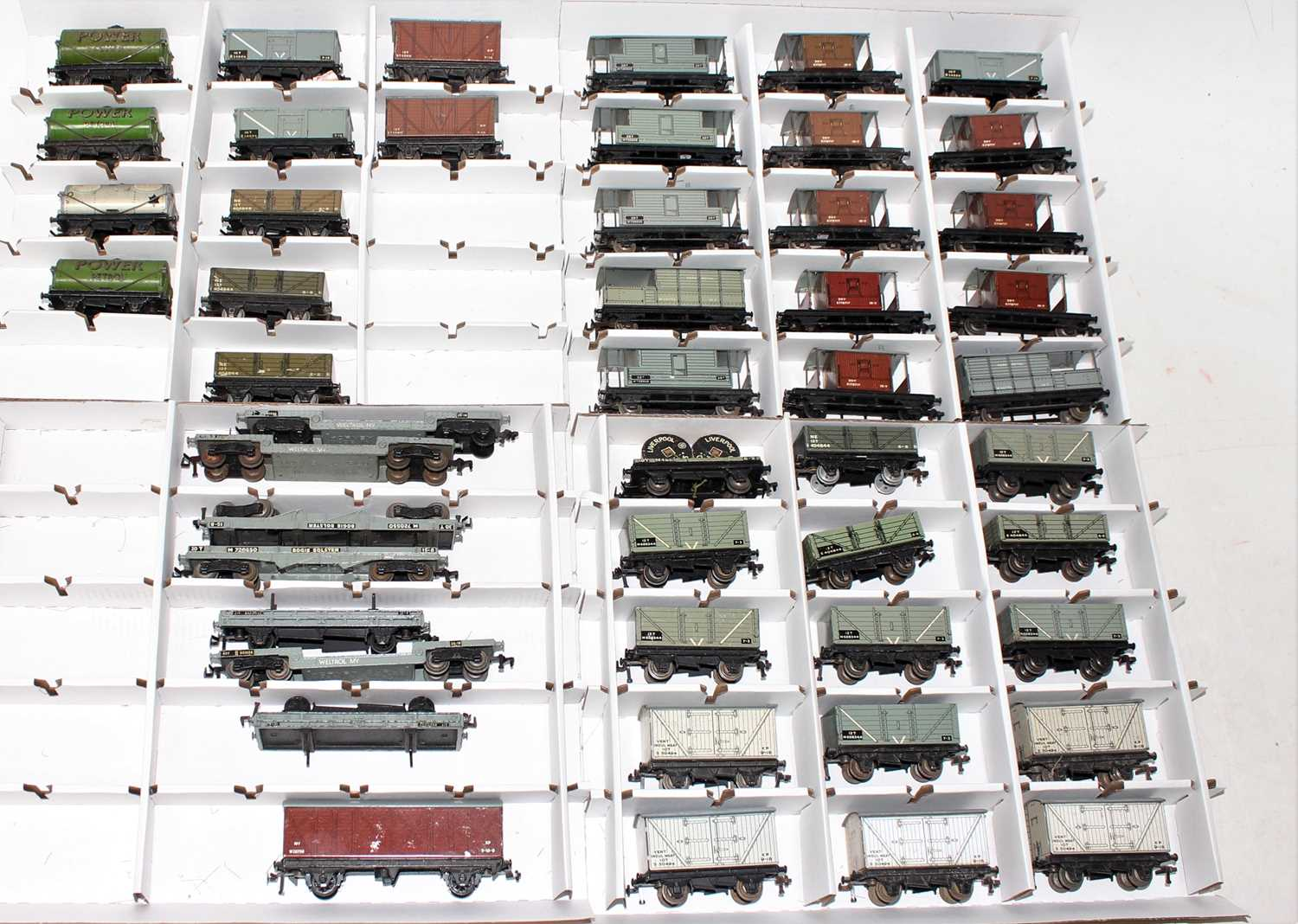 49 Hornby Dublo tinplate/diecast Post War wagons, a varied collection, quality ranging from (F-VG)
