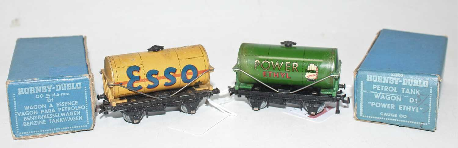 Two Post War Tank Wagons including Buff ESSO, marks to top of tank (VG-BG), with Power Ethyl with