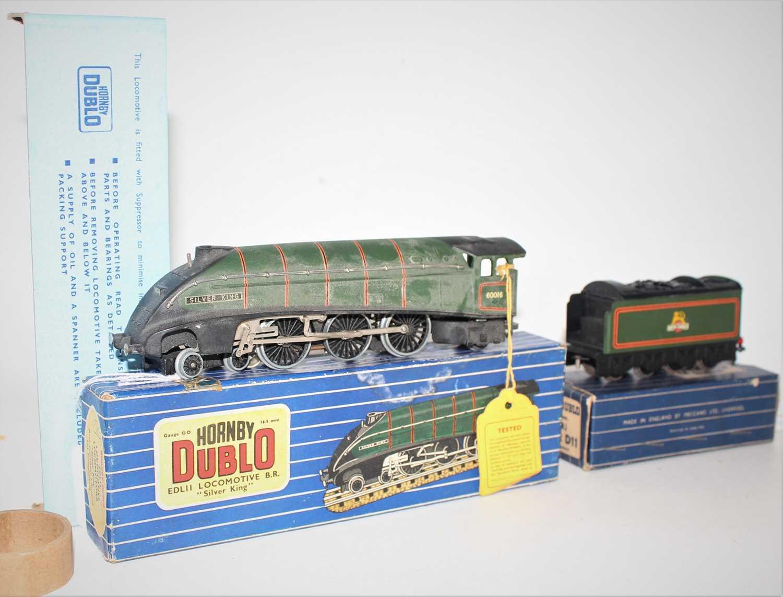 Hornby Dublo EDL11 Silver King, 3-rail loco and tender, matt, very dusty (VG-BG), tender has no
