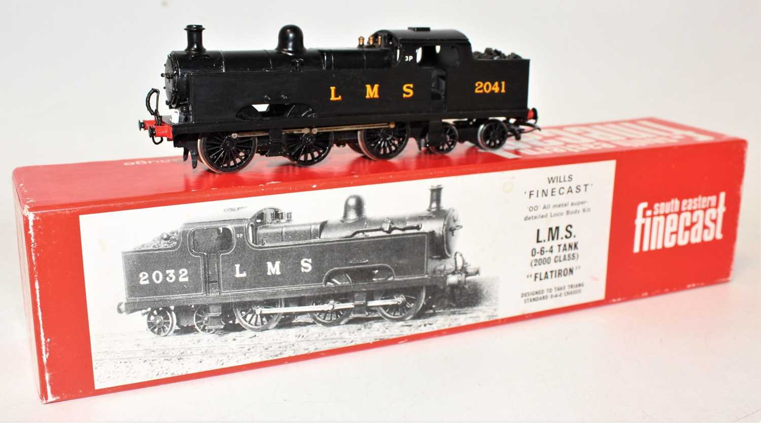 A Wills Finecast 00 scale white metal kit built model of a flat iron LMS 0-6-4 tank loco finished in