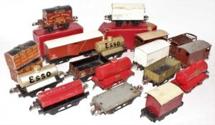 Tray containing 15 Hornby Wagons, various wages and conditions, including a Pre-War No.2 NE