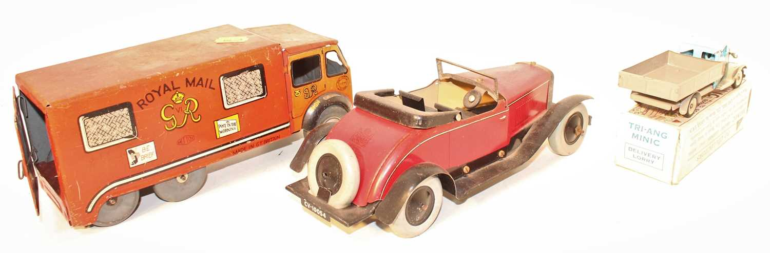 A collection of tinplate mixed commercial and saloons to include a Mettoy No. 15546 Royal Mail - Image 2 of 3