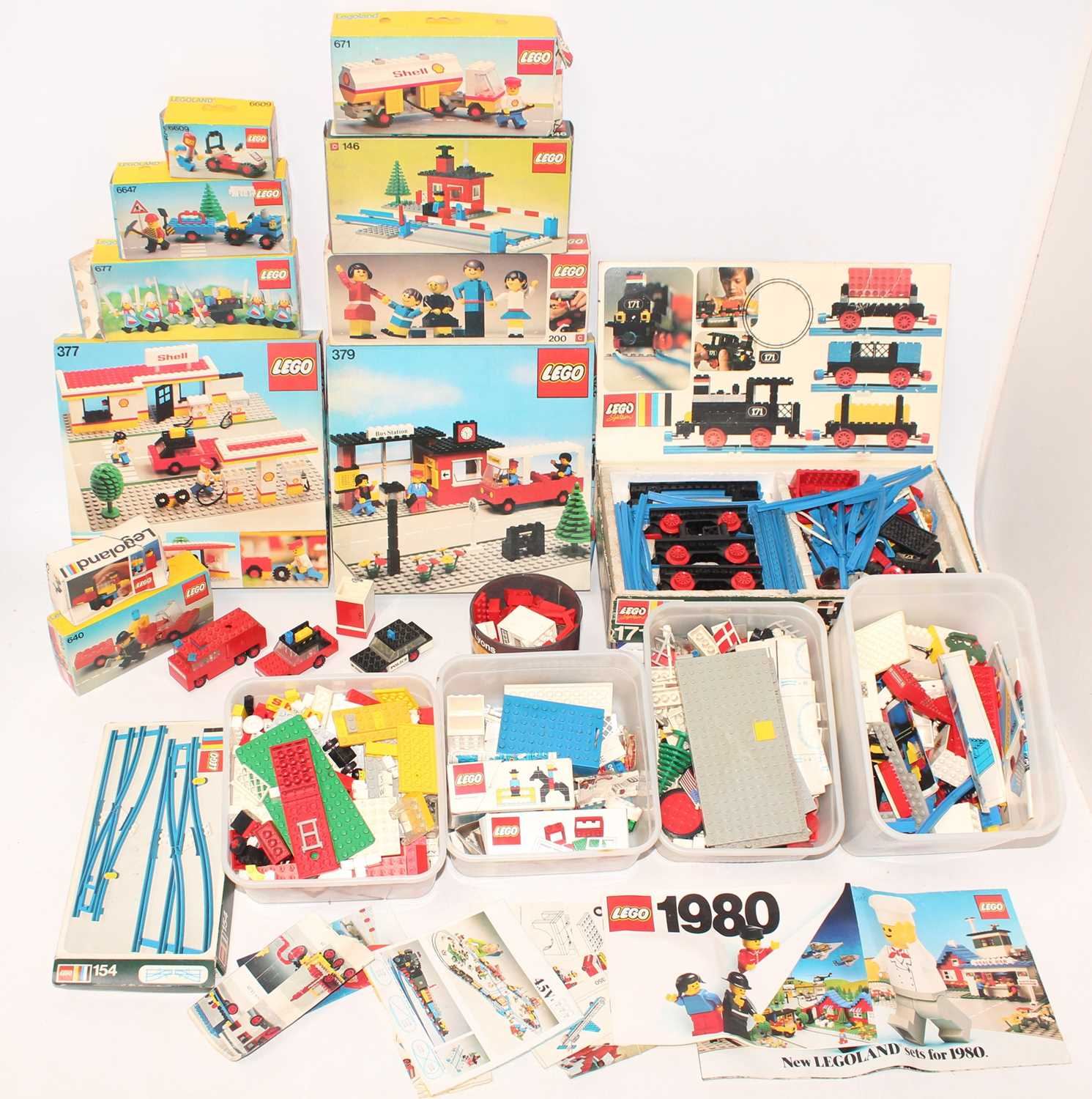 Two boxes containing a large collection of 1980s boxed and loose Lego, mixed examples to include No.