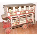 Early 20th Century wooden constructed model of a 6 wheel General Omnibus Company Double Deck Bus,