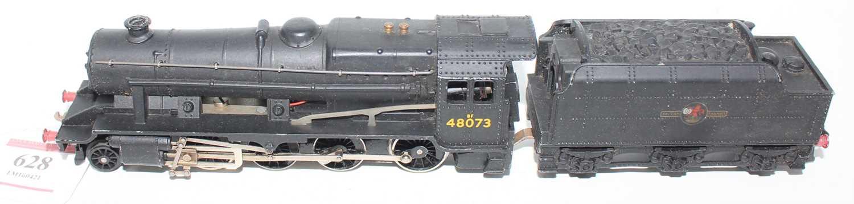 Hornby Dublo 2224 2-rail loco and tender 8F 2-8-0 Freight loco, BR Black 48073, ringfield motor,