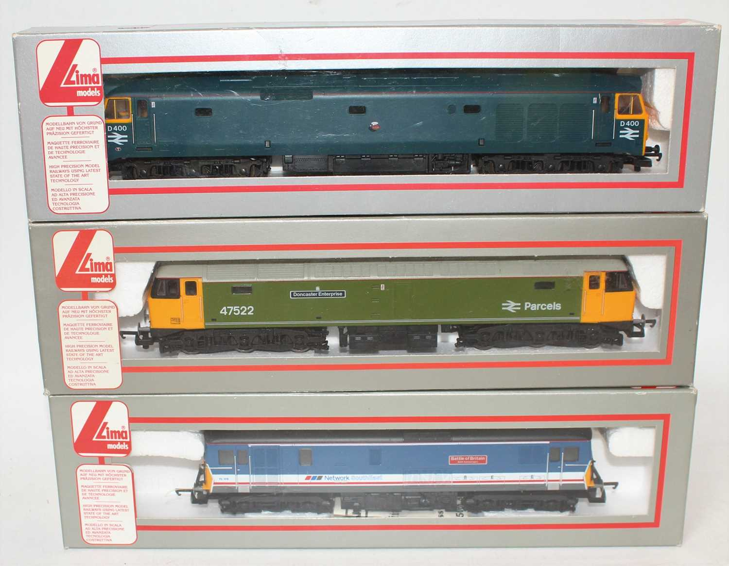 Three various boxed as issued Lima 00 gauge diesel locomotives, to include a Network South East
