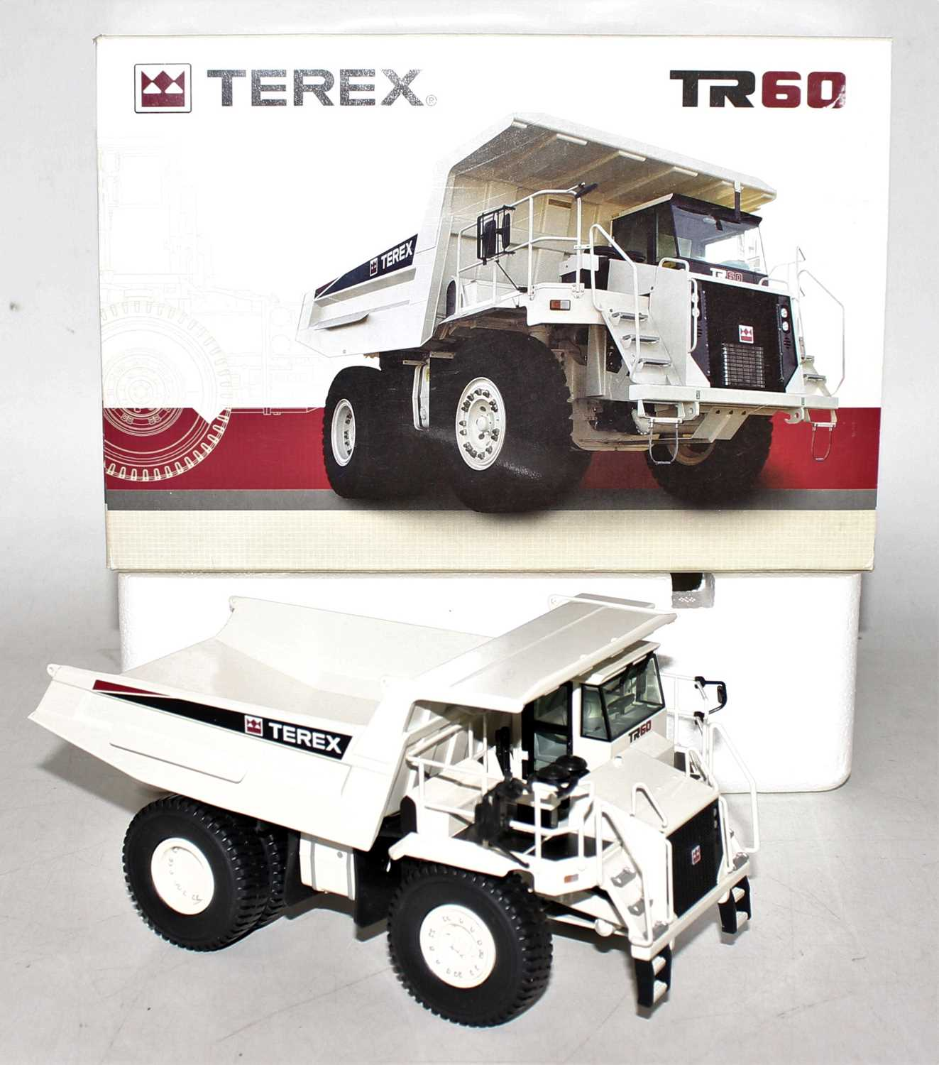 An NZG model No. 771 1/50 scale boxed model of a Terex TR60 rigid haul truck, finished in white, and - Image 2 of 2