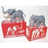 """Britains plastic """"Wildlife models""""series boxed African elephants, two in total, 1310, 1309. (BM)."""