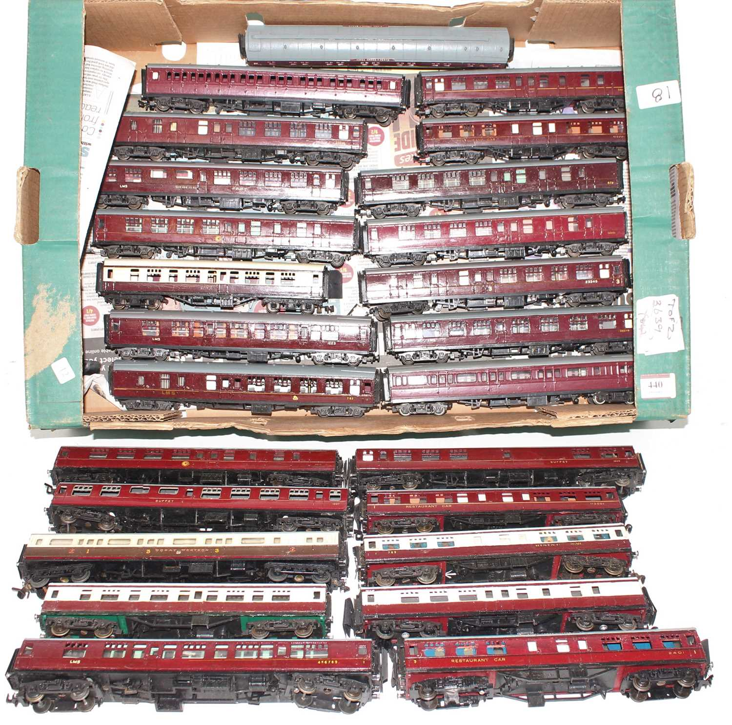 One tray containing a quantity of 25 various mixed region and livery 00 gauge coaches, mixed