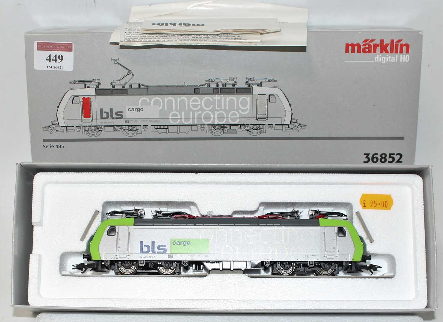 A Marklin Digital H0 model No.36852 BLS Cargo series 485 electric locomotive, housed in the original