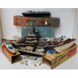 One box containing a large quantity of various plastic boats and aircraft models to include a Frog