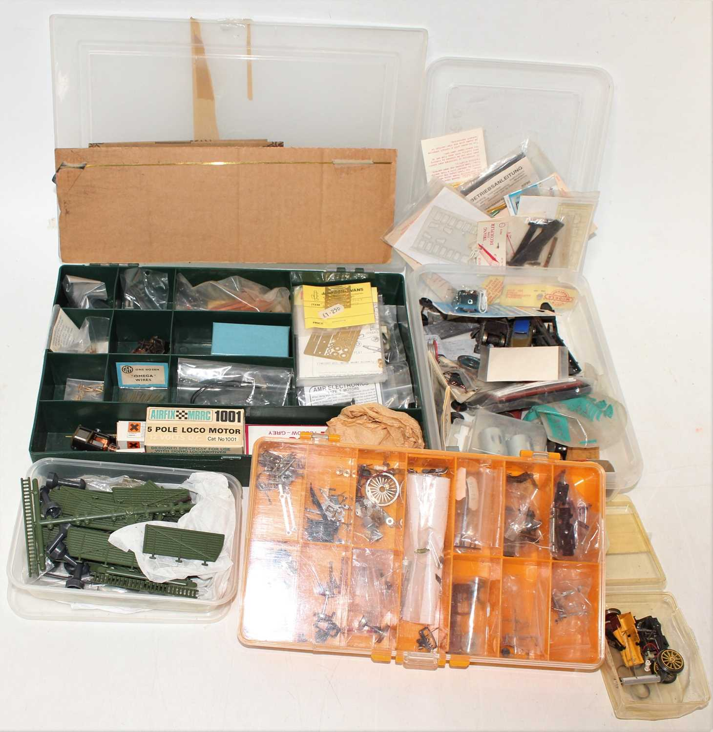 Three boxes containing a large quantity of various 00 gauge and H0 scale lineside accessories track, - Image 2 of 2