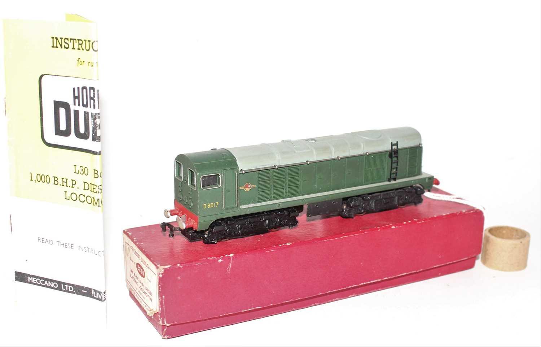 Hornby Dublo 2230 BoBo Diesel Electric 2-Rail Locomotive D8017, Plain red box (NM-BE)