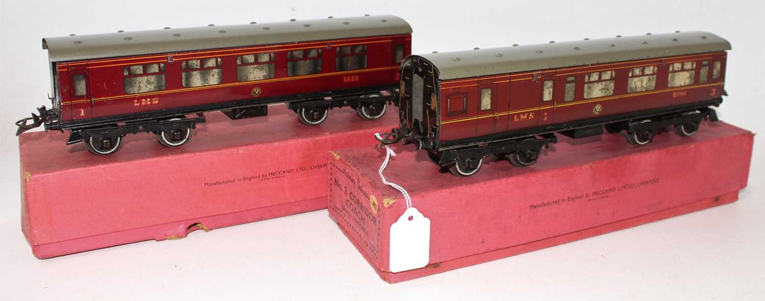 Two 1937-41 Hornby No.2 Corridor coaches, LMS 1st/3rd and Br/Comp, each has heavily marked silvering