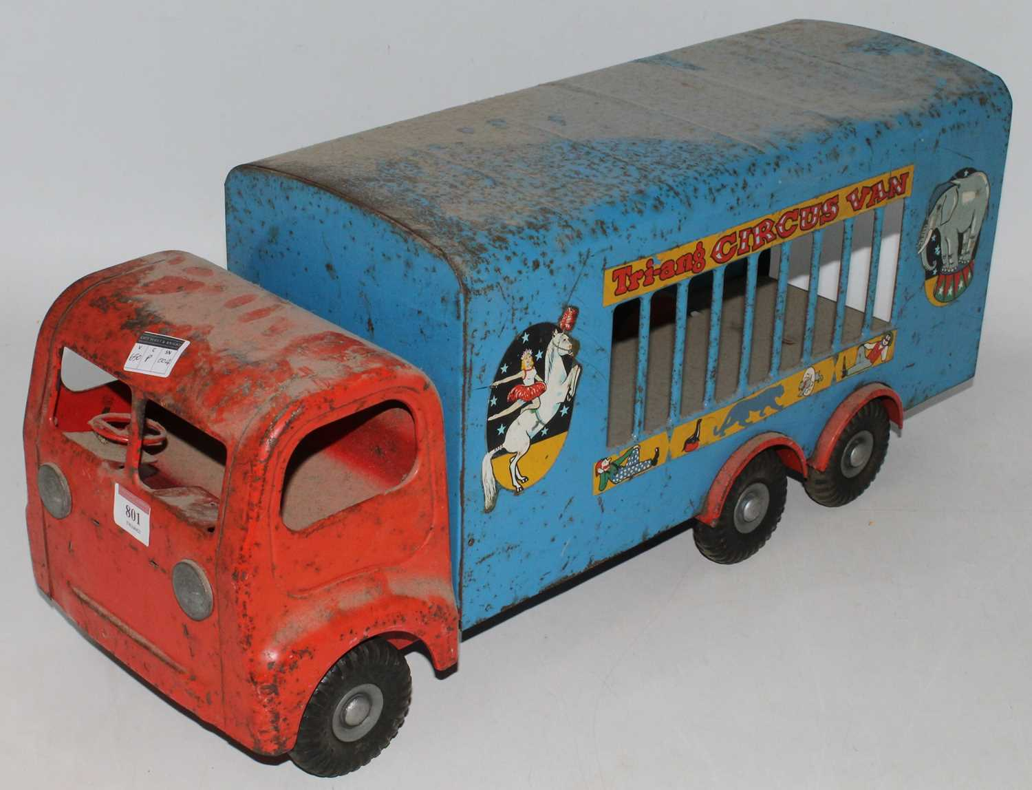 Triang large Circus Van, in blue and red in played with condition, needs cleaning. (F)