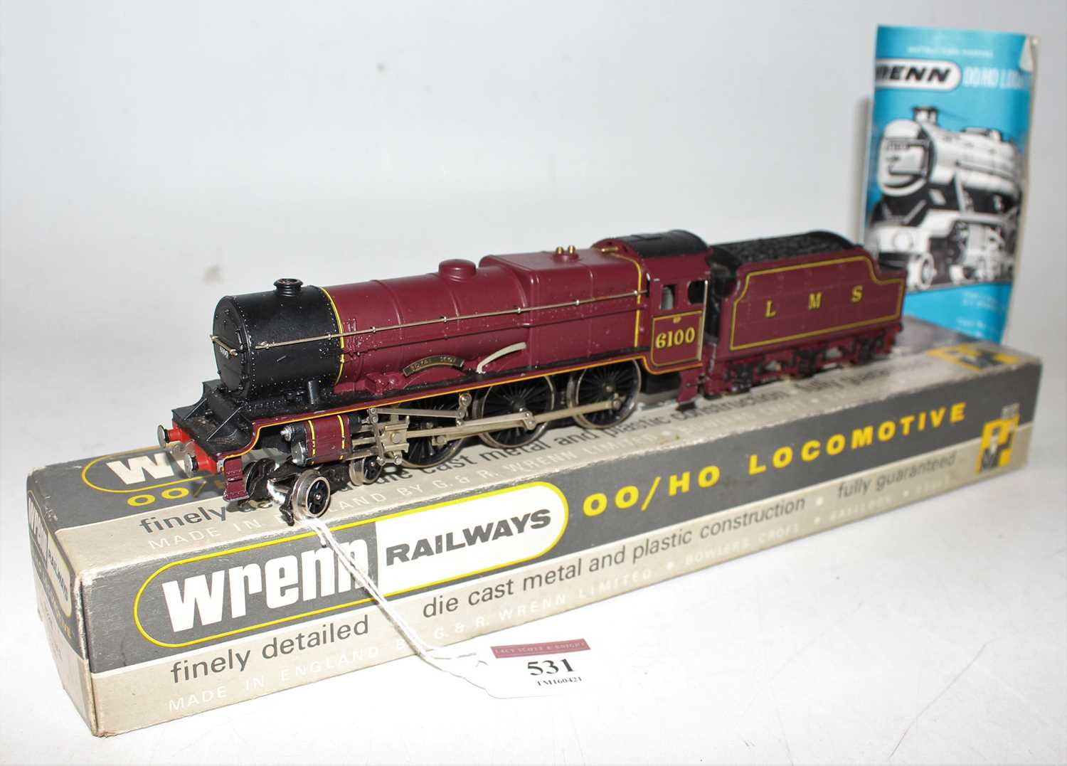 W2260 Wrenn loco & tender 'Royal Scot' 4-6-0 No.6100, LMS red, chips to cylinder covers,