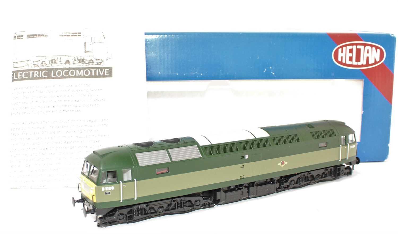 A Heljan No. 4700 00 gauge model of a BR two tone green Class 47 diesel locomotive no. D1100