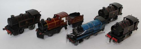 Three 1954-60 clockwork Hornby type 40 tank locos 0-4-0 BR black 82011, all in various states of