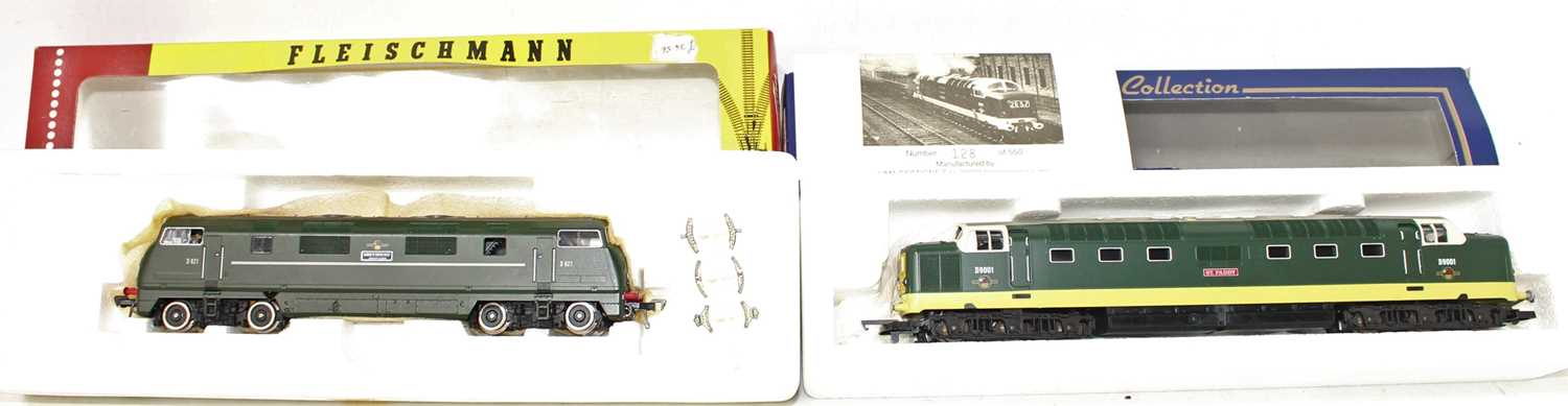 A Lima 00 gauge and a Fleischmann H0 scale diesel locomotive group, to include a Lima limited