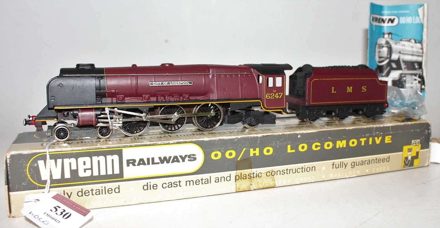 W2242 Wrenn loco & tender 'Duchess' class 4-6-2 'City of Liverpool, LMS red 6247. Lined tender,