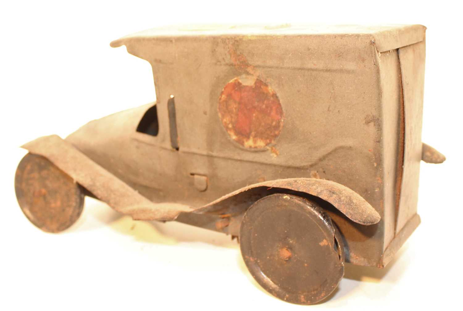An early 20th century tinplate and clockwork model of a military ambulance finished in grey with - Image 2 of 3