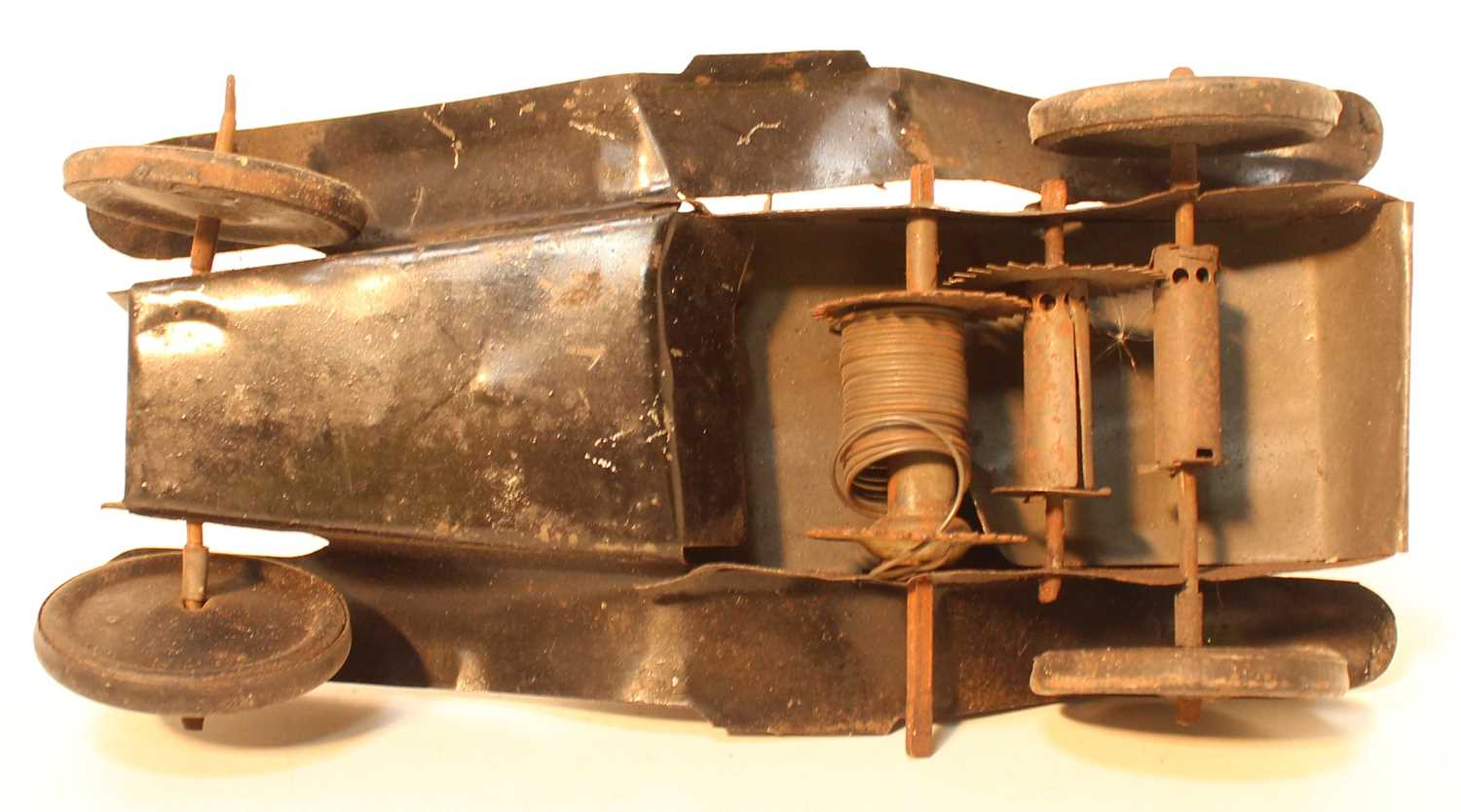 An early 20th century tinplate and clockwork model of a military ambulance finished in grey with - Image 3 of 3