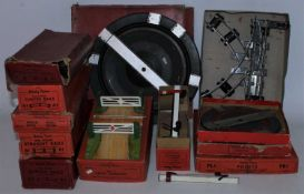 A very large plastic crate and a large cardboard box containing a large collection of Hornby