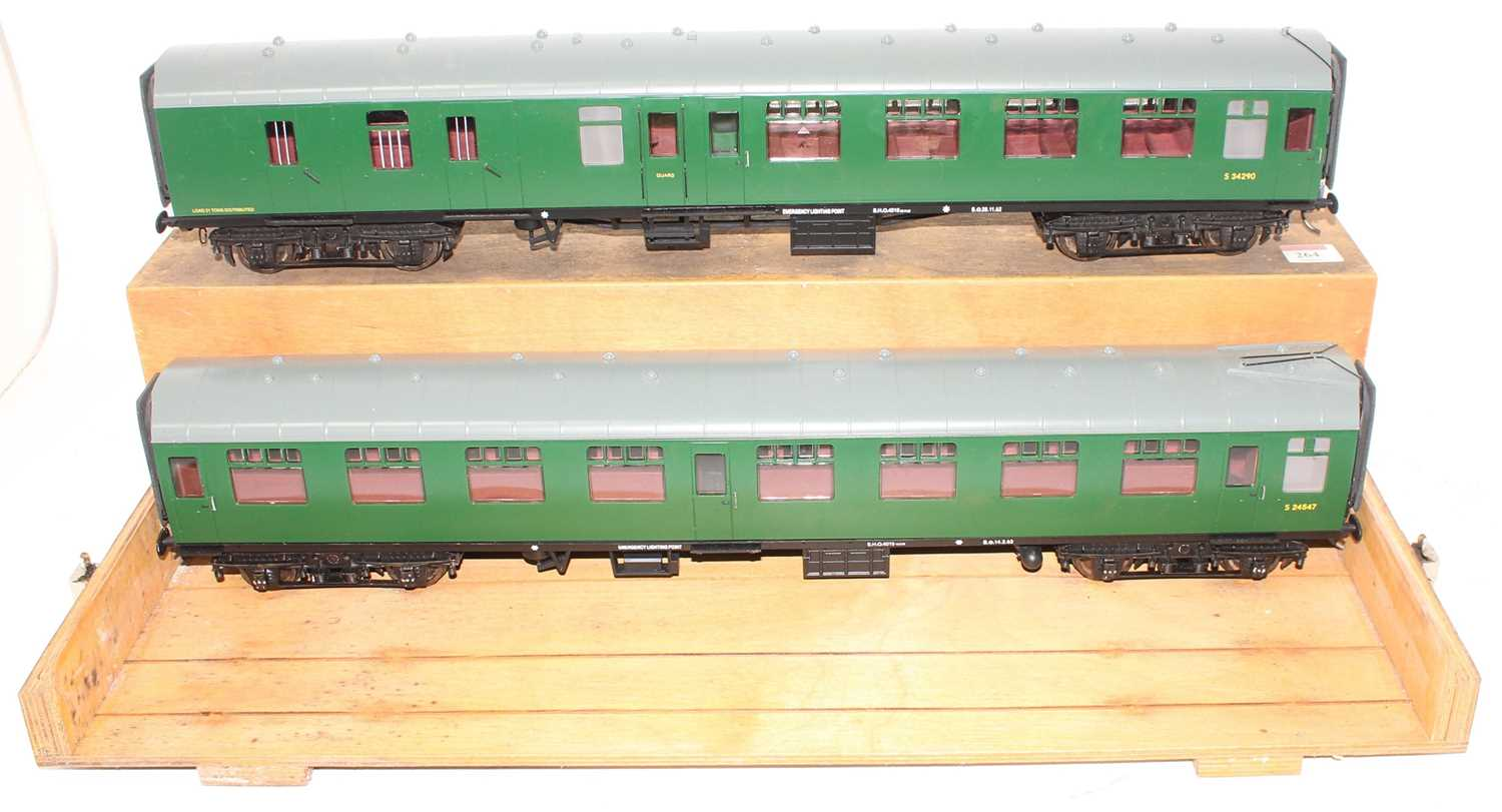 Gauge 1 Model Company coach group, 2 examples both Southern region to include S24547 and S34290,