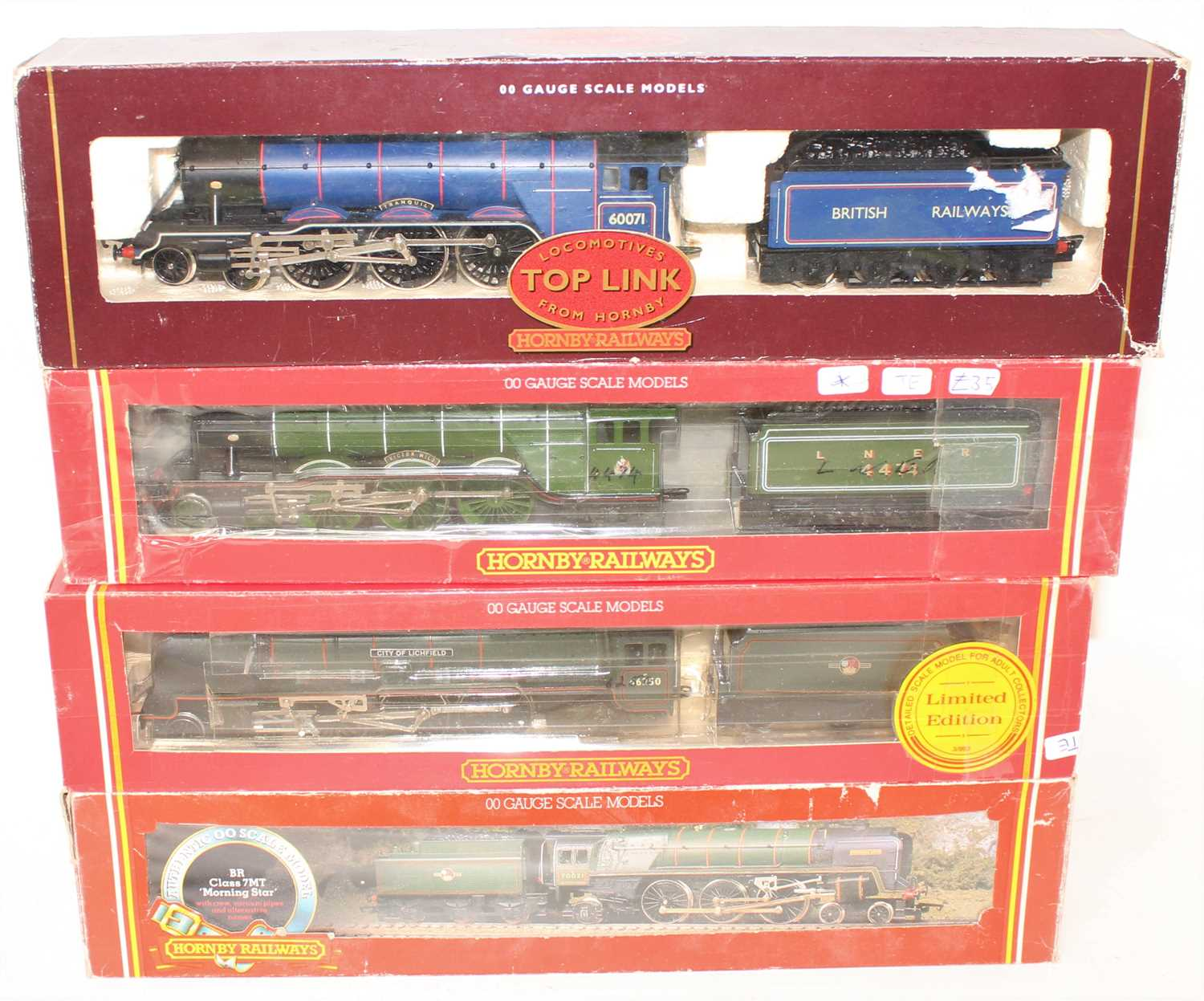 Four various boxed Hornby 00 gauge locomotives, all housed in original packaging, some packaging has